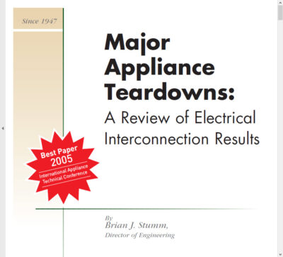 White paper - major appliance teardown for electrical interconnections