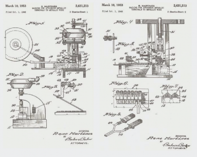 1953 patent drawing showing two terminals being attached at once from ETCO's 2020 brochure of electrical terminals and application machinery