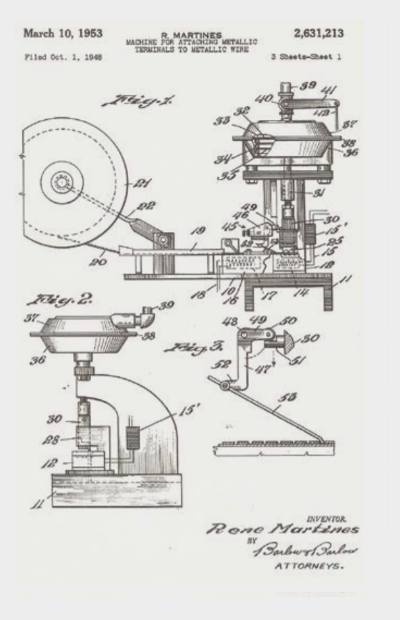 ETCO 1948 Patent Application Drawings - Electric Terminal Applicator Machine Page 1