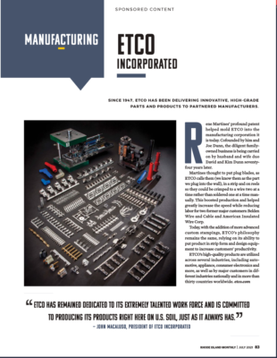 ETCO featured in July RI Monthly magazine