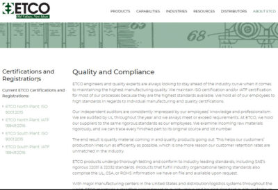 ETCO scores an industry high 97% rating in supplier scorecard.